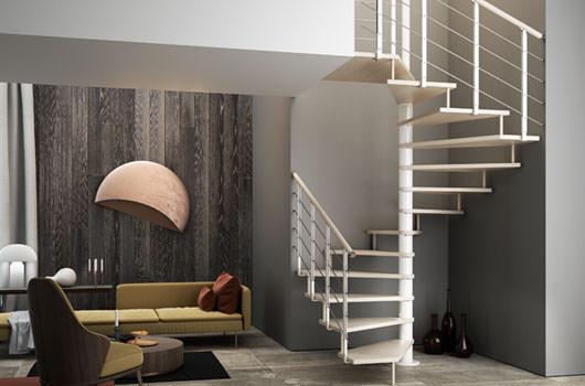 Tekla, la scala a chiocciola quadrata che permette di sfruttare al meglio gli spazi ad angolo.