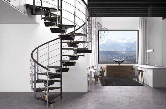 Scopri le scale elicoidali in legno e ferro di Rintal