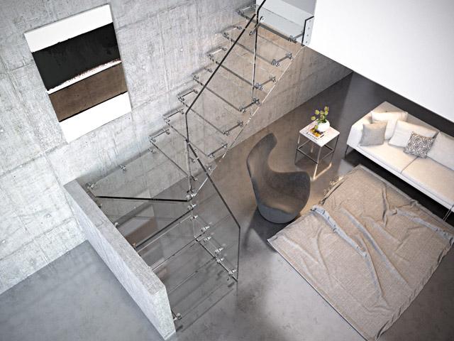 Scala in vetro ringhiere per scale interne rintal aira glass