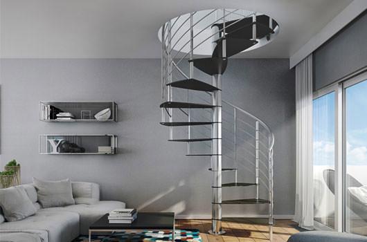 Panoramica della scala a chiocciola per interni Rintal: Modello Lamina