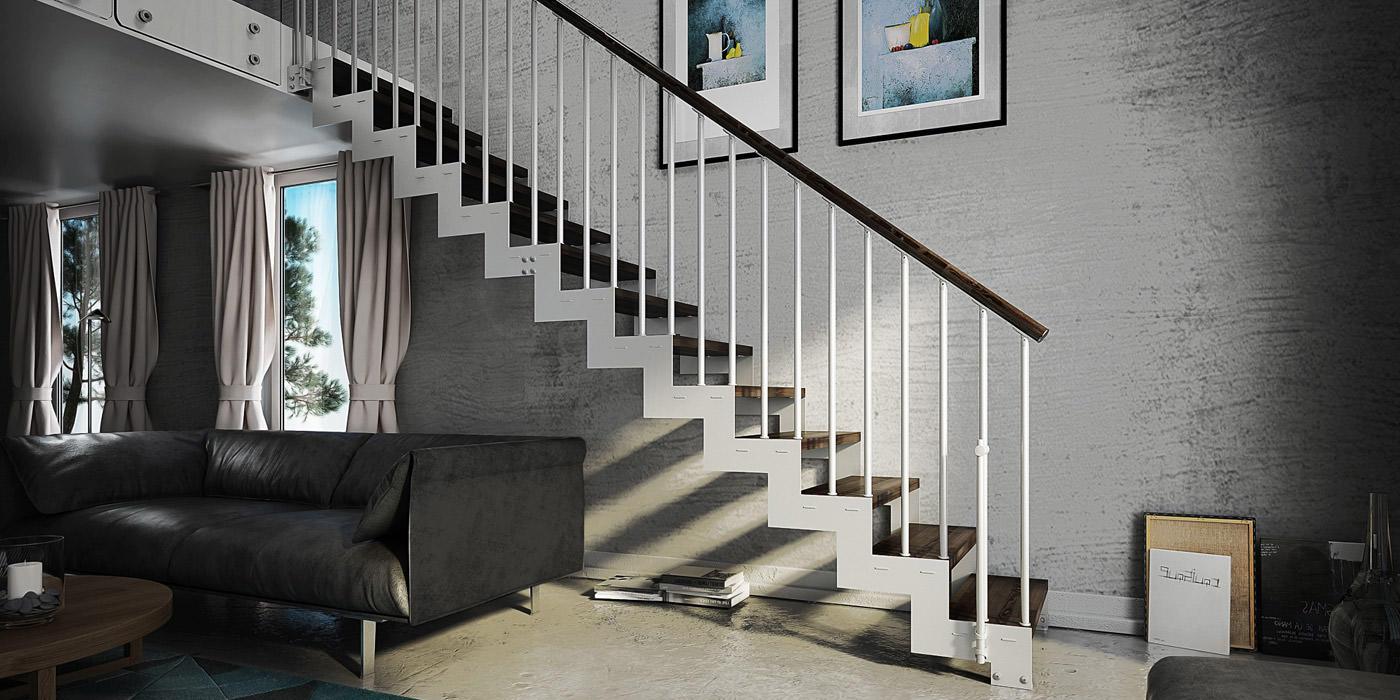 Scala a giorno in acciaio e legno su misura fos rintal - Configuratore scale interne ...