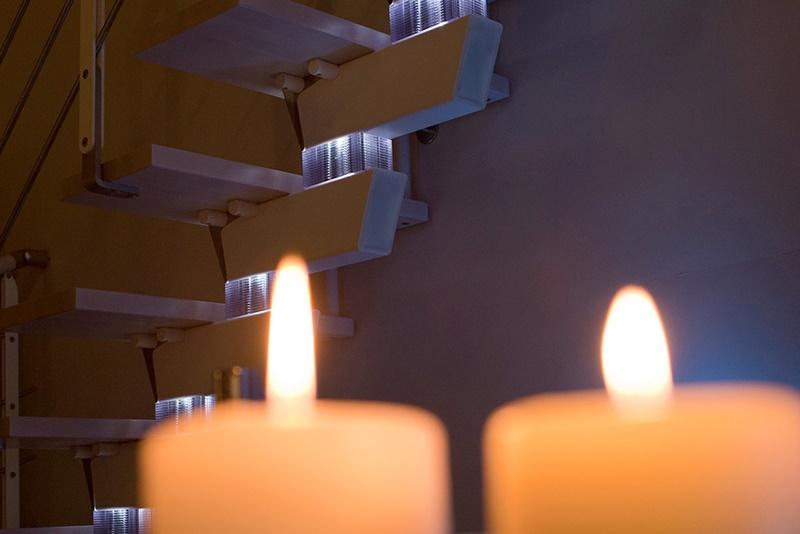 Scala con illuminazione installata a Milano